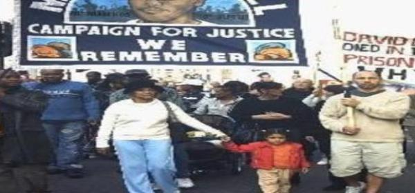 Mikey Powell's mother leads marchers - Oct 2004 (Copy)