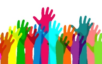 Colorful hands raised